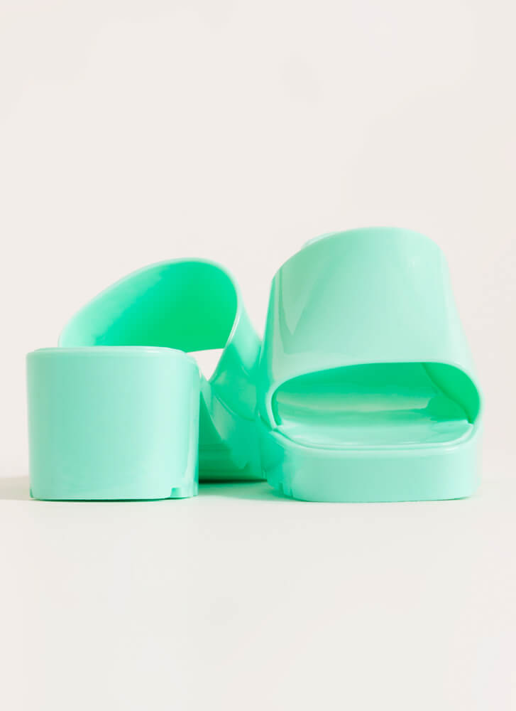 You So Jelly Chunky Block Heel Sandals MINT