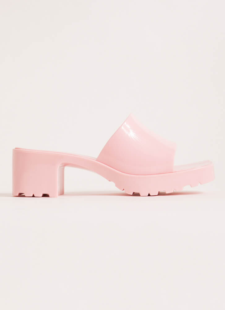You So Jelly Chunky Block Heel Sandals PINK