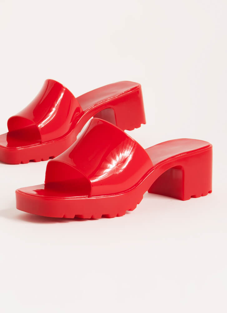 You So Jelly Chunky Block Heel Sandals RED