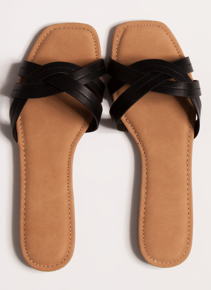 Intertwined Strappy Slide Sandals BLACK