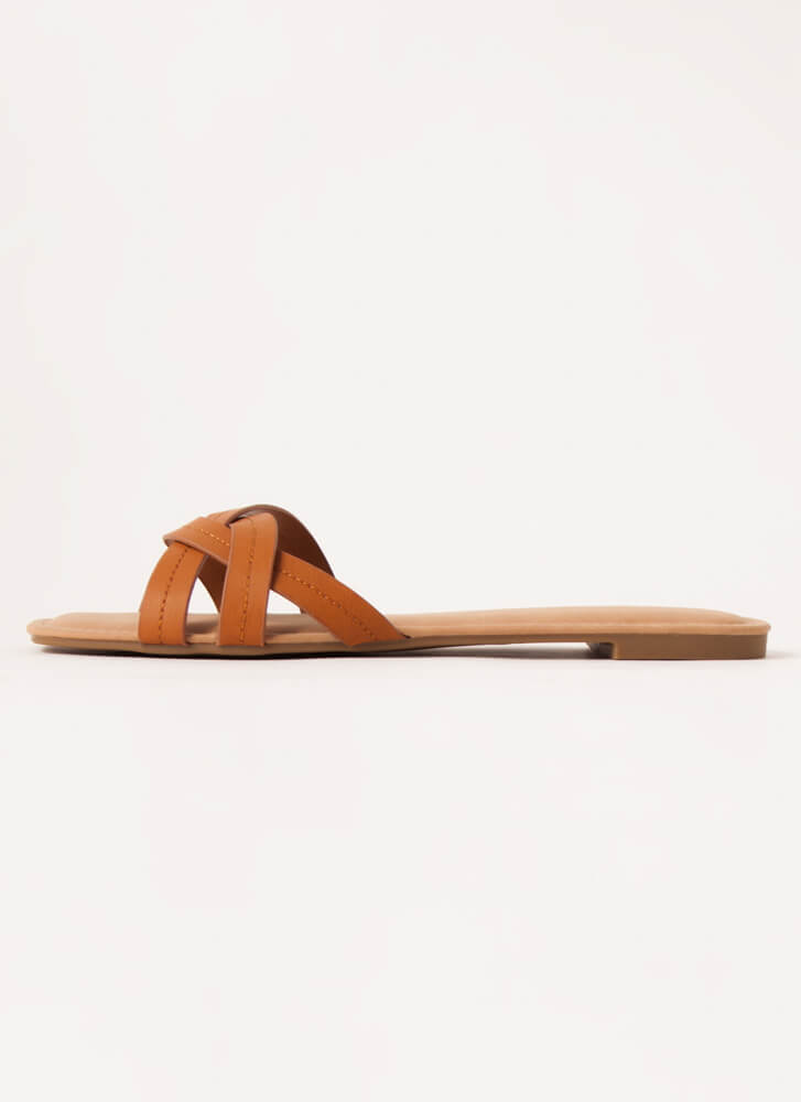 Intertwined Strappy Slide Sandals TAN