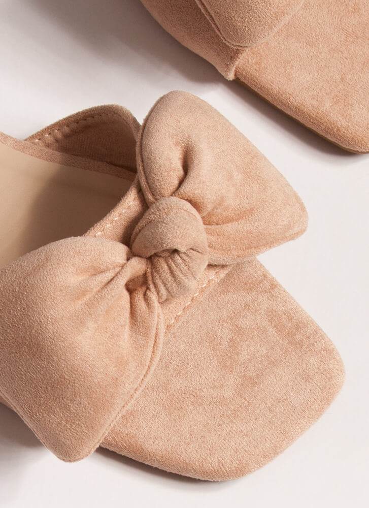 My New Bow Faux Suede Slide Sandals NUDE