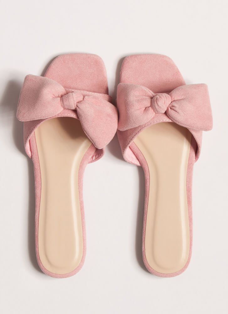 My New Bow Faux Suede Slide Sandals PINK