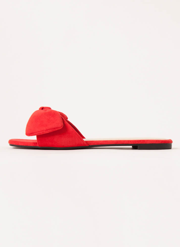 My New Bow Faux Suede Slide Sandals RED