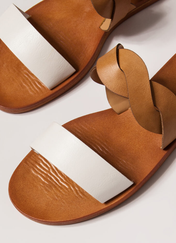 Added Twist Faux Leather Slide Sandals WHITE