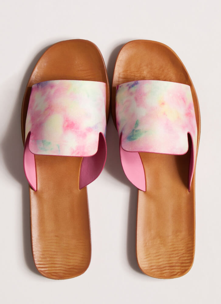 Tongue Out Notched Tie-Dye Slide Sandals PINK