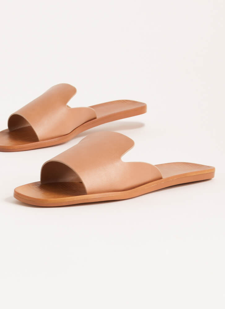 Tongue Out Notched Slide Sandals TAN
