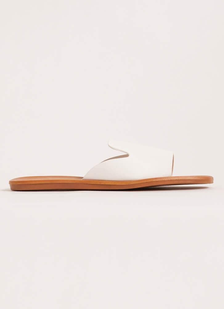 Tongue Out Notched Slide Sandals WHITE