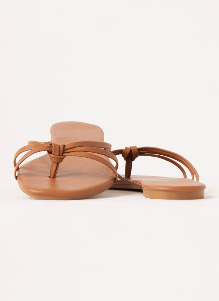 Knot Flip-Flops Strappy Thong Sandals TAN