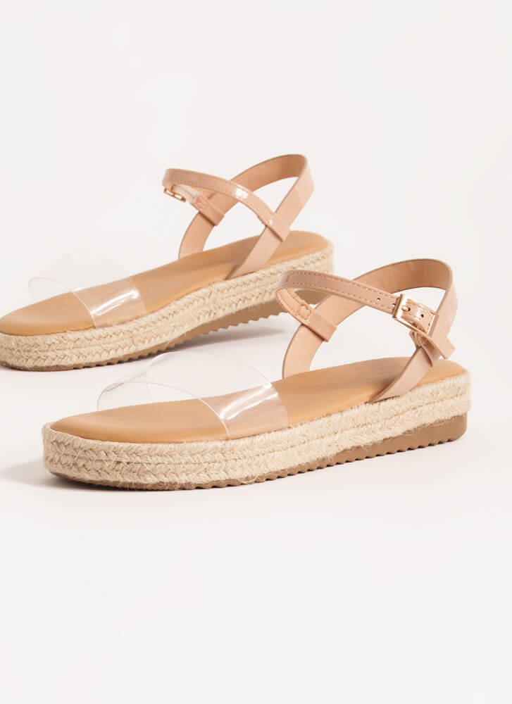 Stepping Out Braided Clear Strap Sandals CLEAR
