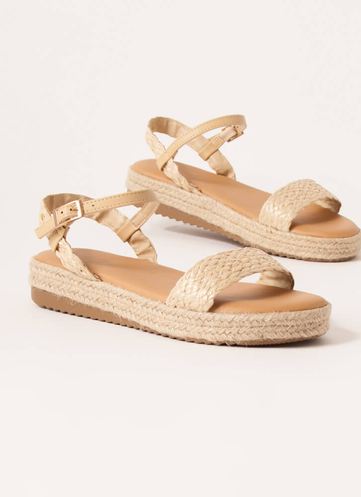 Stepping Out Braided Raffia Sandals NATURAL