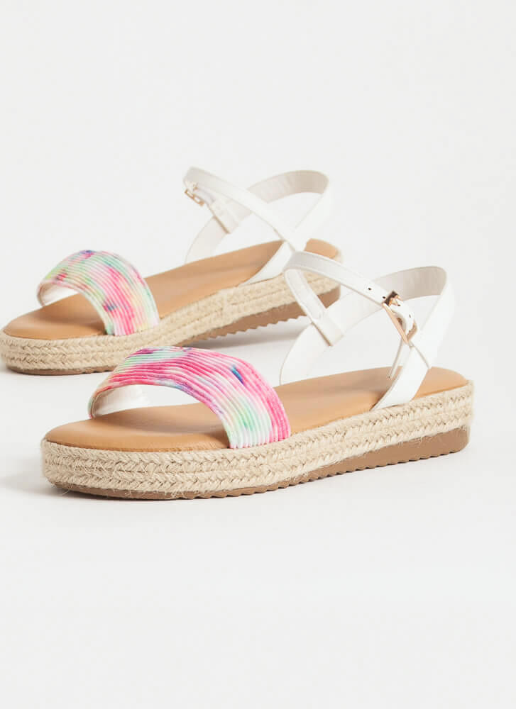 Stepping Out Braided Tie-Dye Sandals TIEDYE