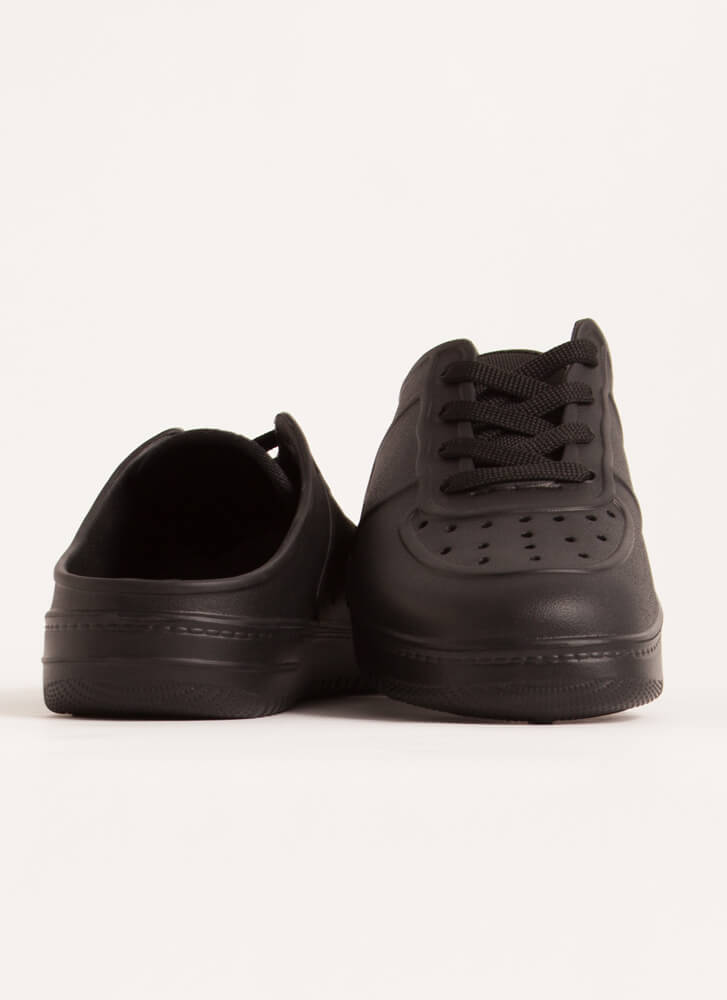 Easy Win Perforated PVC Slip-On Sneakers BLACK