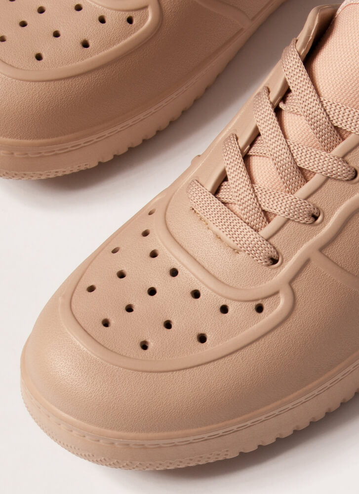 Easy Win Perforated PVC Slip-On Sneakers NUDE
