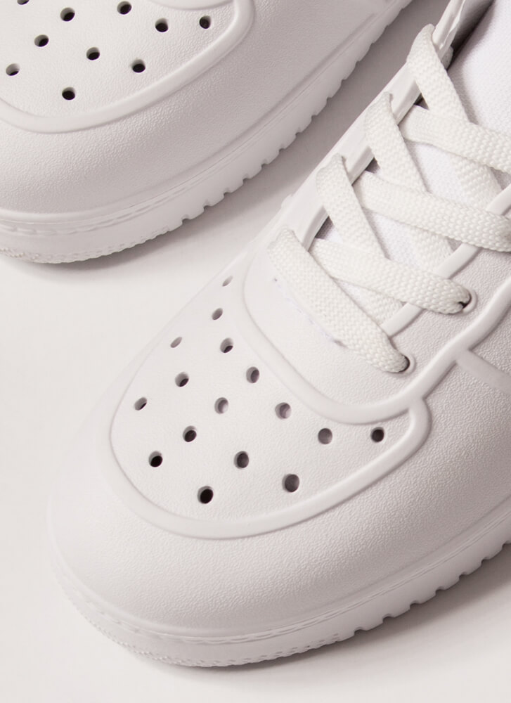 Easy Win Perforated PVC Slip-On Sneakers WHITE
