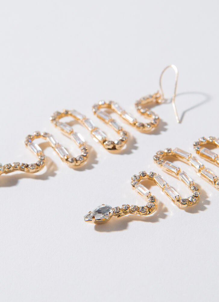 Slither Away Jeweled Snake Earrings GOLDCLEAR