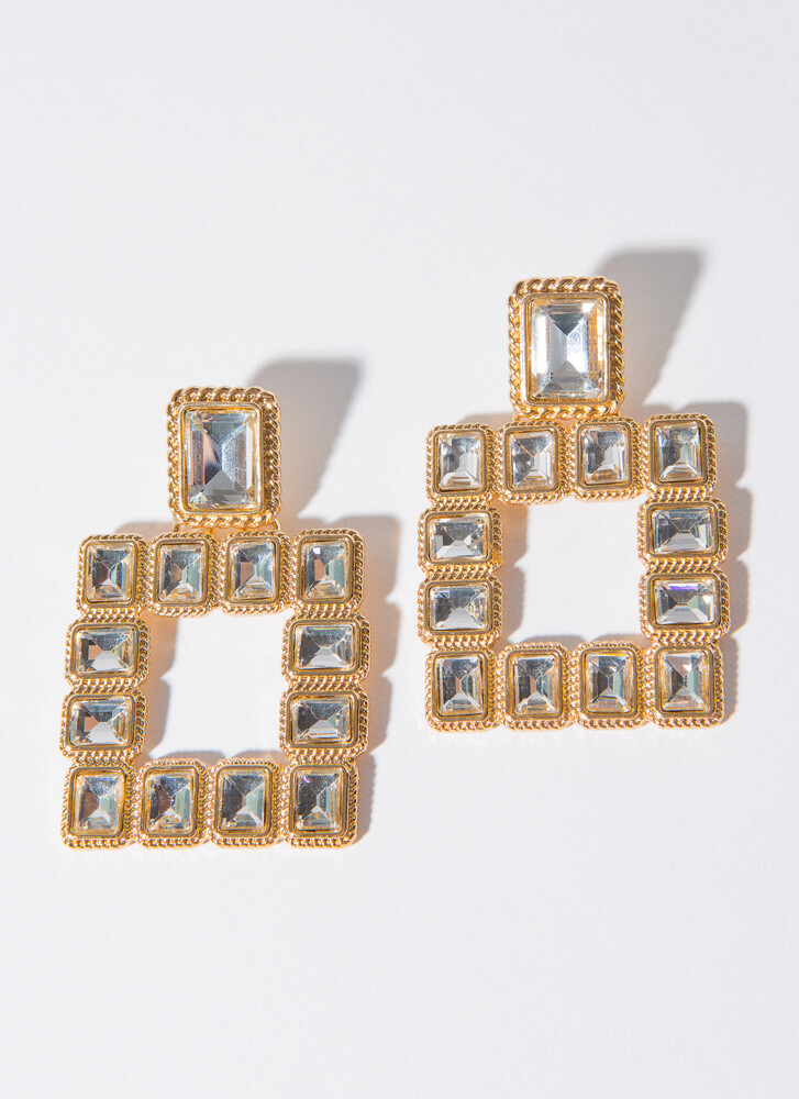 Photo Frame Faux Crystal Earrings GOLDCLEAR