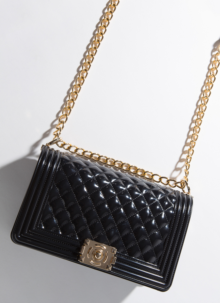 Large And In Charge Quilted Jelly Purse BLACK