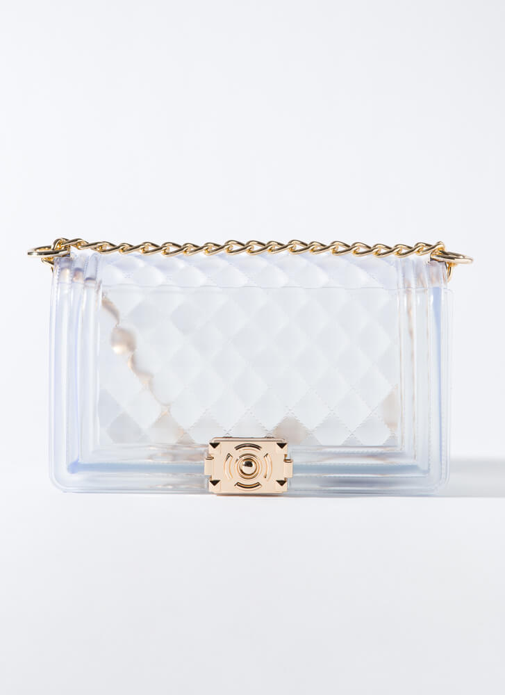 Large And In Charge Quilted Jelly Purse CLEAR