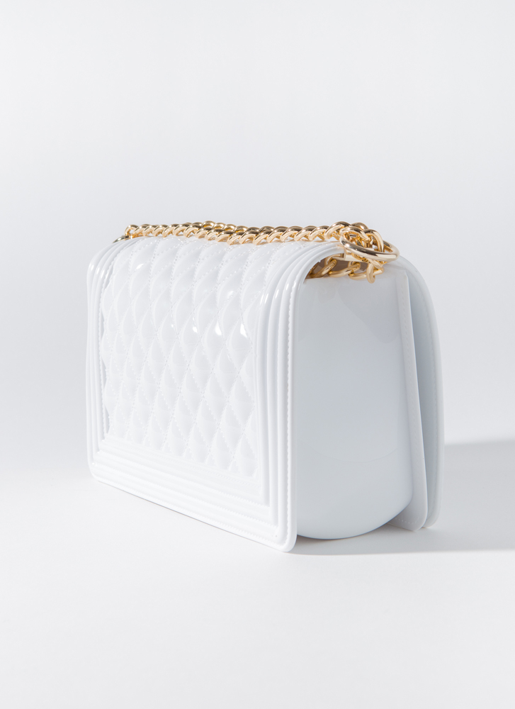 Large And In Charge Quilted Jelly Purse WHITE