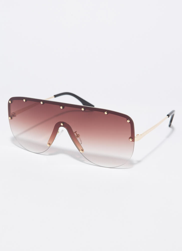 Outro Studded Goggle Sunglasses BROWN