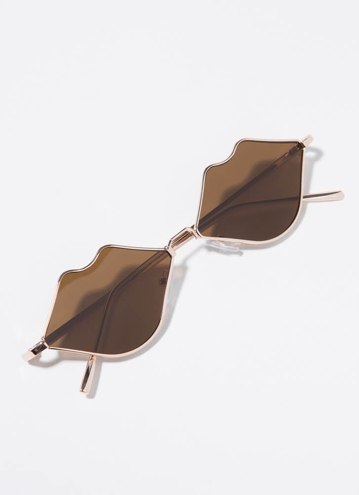 Pouty Mouth Lip-Shaped Sunglasses BROWN