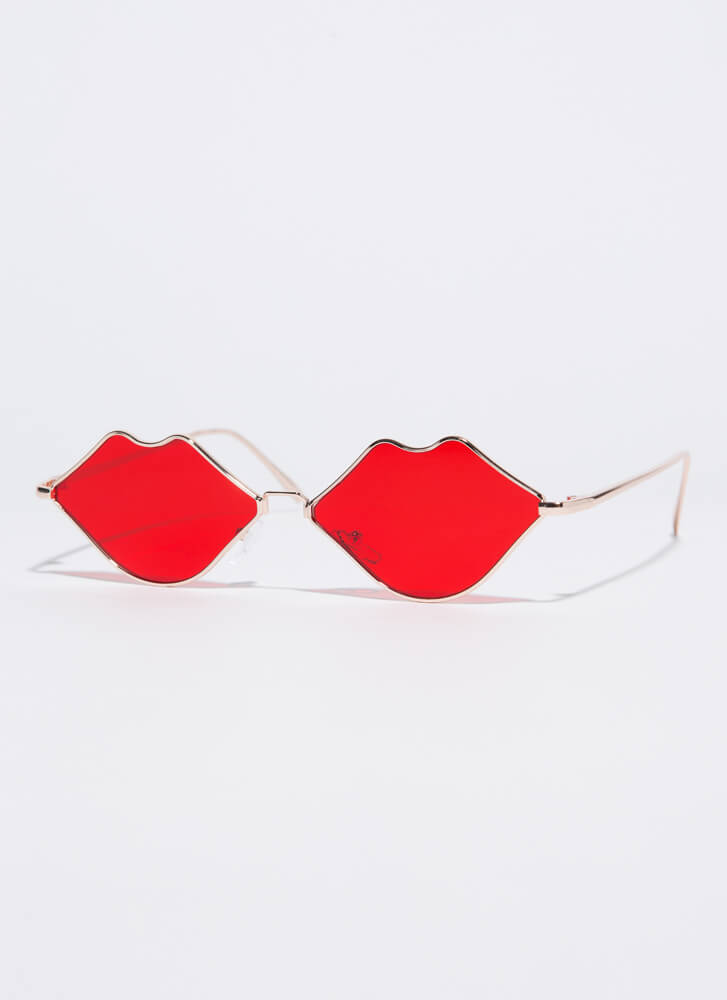 Pouty Lips Mouth-Shaped Sunglasses RED