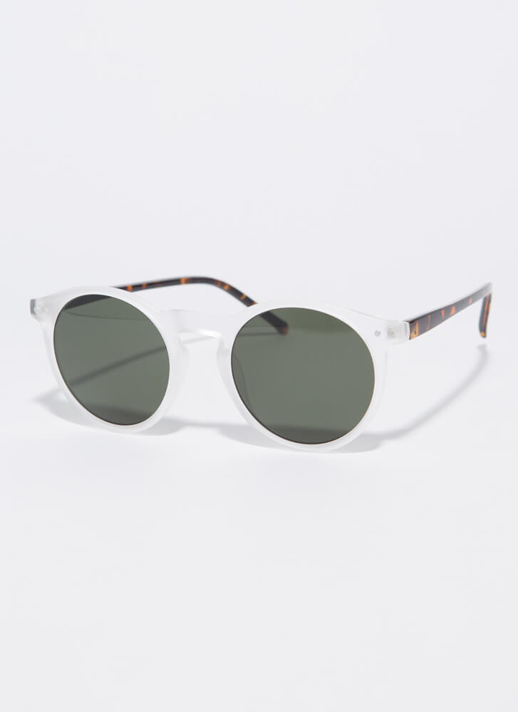 Create Interest Round Resin Sunglasses CLEAR
