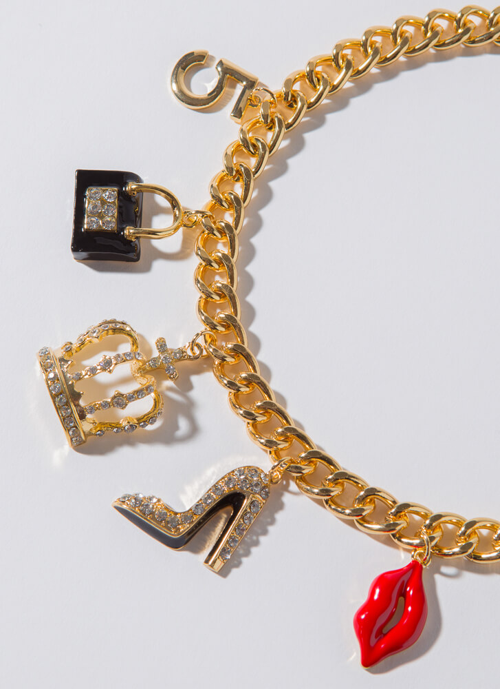 Fashion Queen Jeweled Charm Necklace GOLDCLEAR