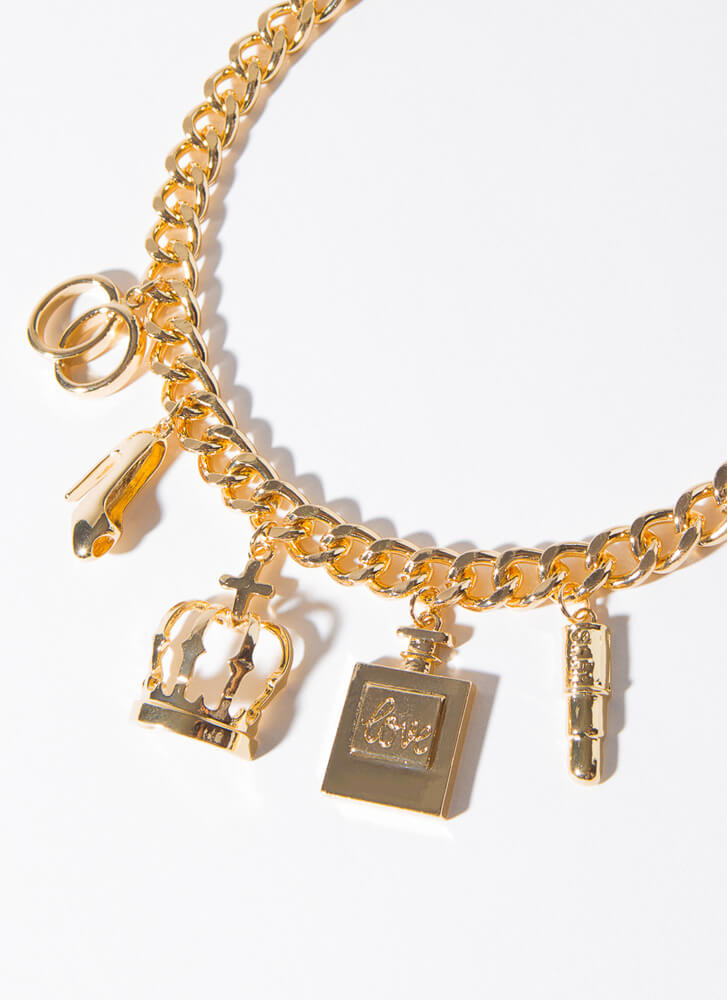 Queen Of Accessories Charm Necklace Set GOLD