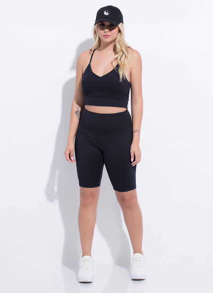 Gym Babe Strappy Top And Shorts Set BLACK