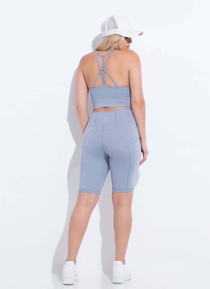 Gym Babe Strappy Top And Shorts Set BLUEGREY