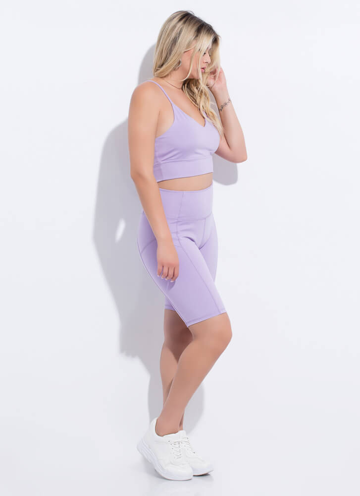 Gym Babe Strappy Top And Shorts Set LAVENDER