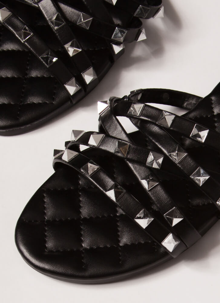 Hot Studs Quilted Strappy Sandals BLACK
