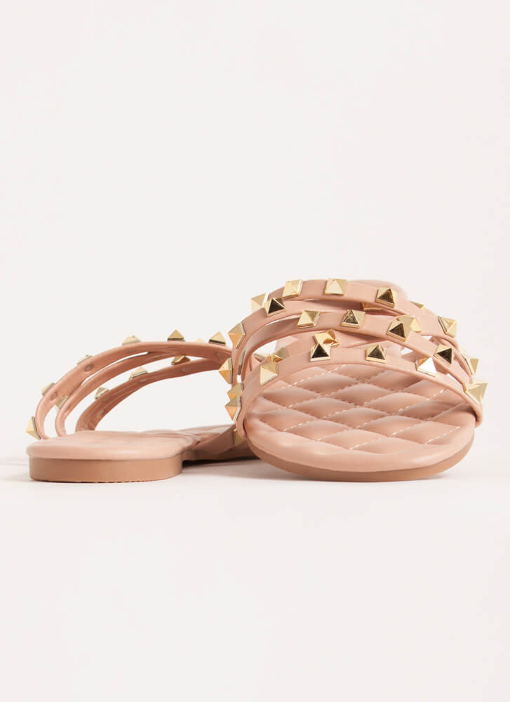 Hot Studs Quilted Strappy Sandals NUDE
