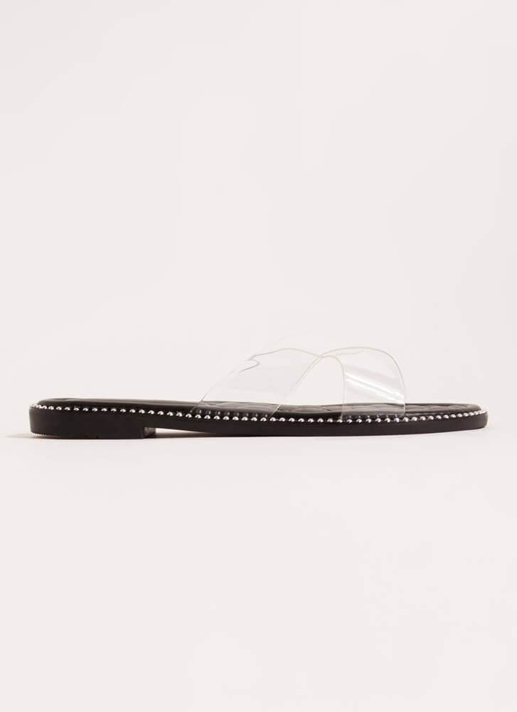Clear My Head Quilted Studded Sandals BLACK