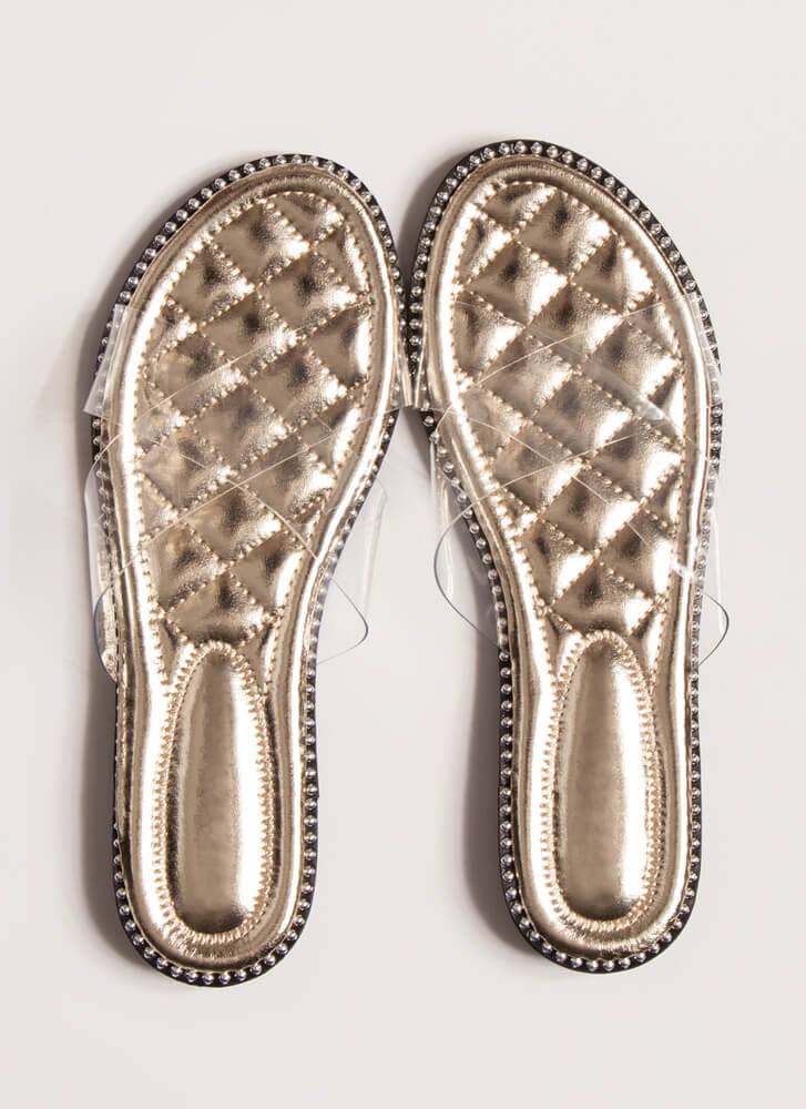 Clear My Head Quilted Studded Sandals GOLD