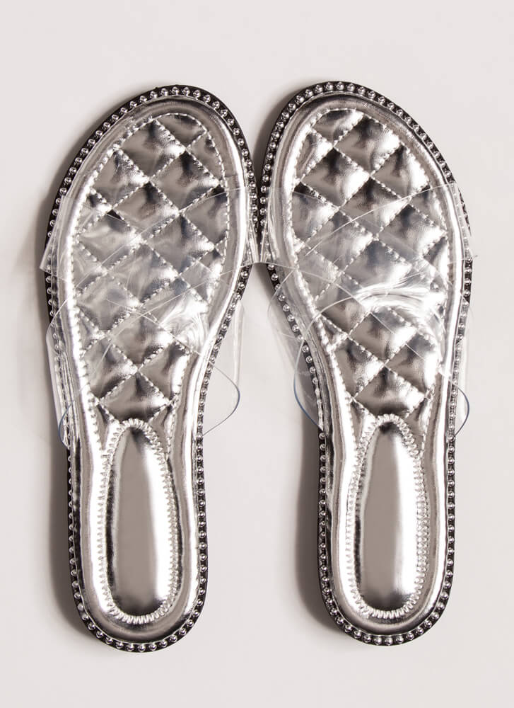 Clear My Head Quilted Studded Sandals SILVER