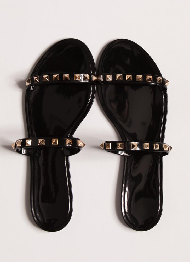 Get The Edge Jelly Studded Strap Sandals BLACK