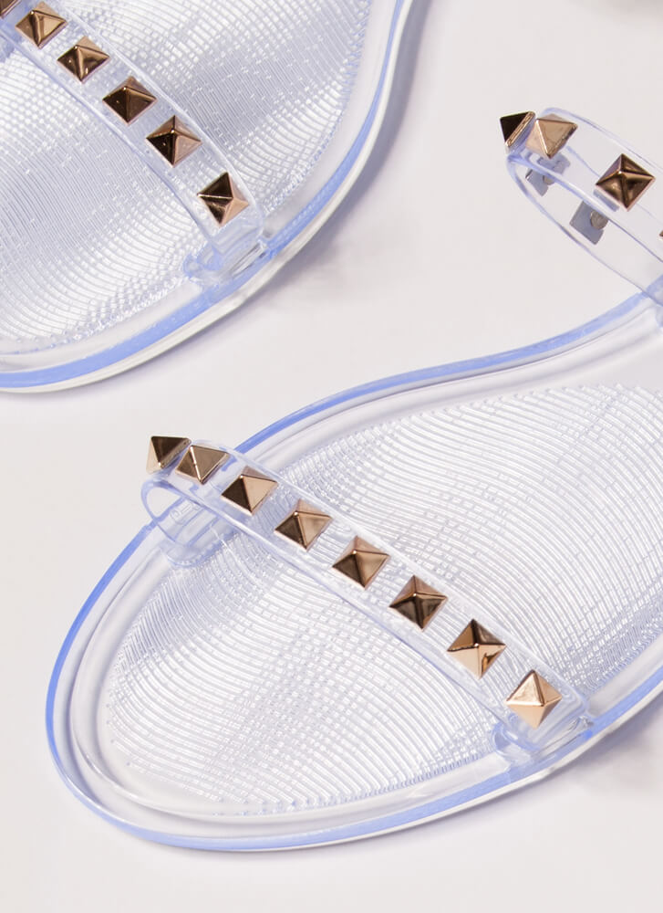 Get The Edge Jelly Studded Strap Sandals CLEAR