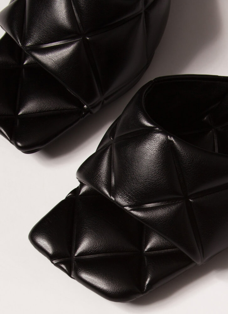 Square On My Life Quilted Mule Heels BLACK