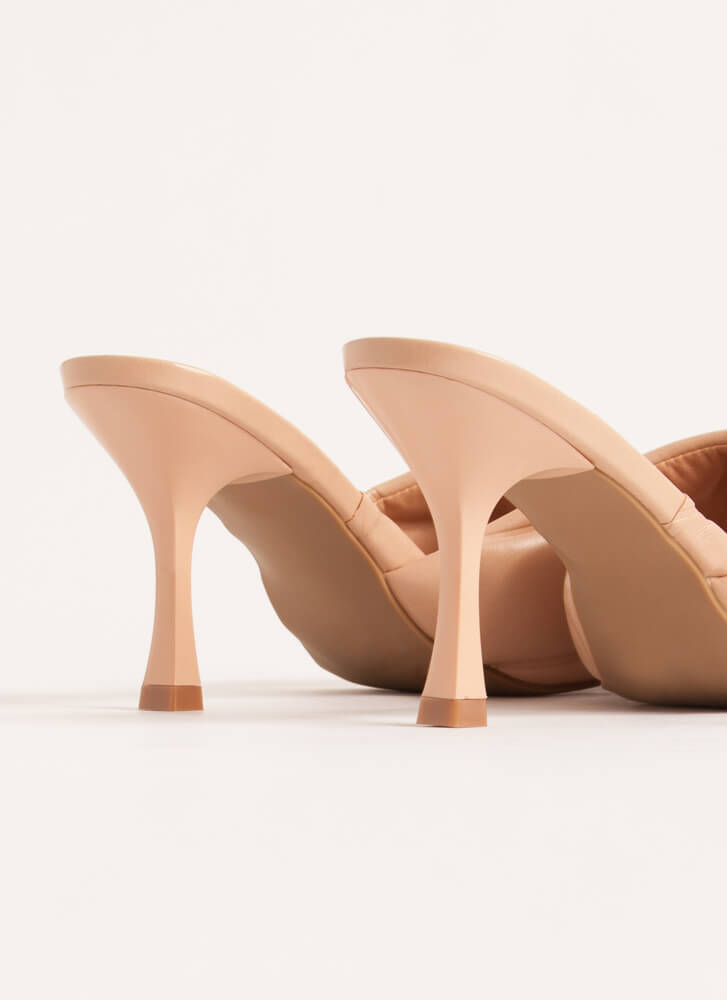 Square On My Life Quilted Mule Heels NUDE