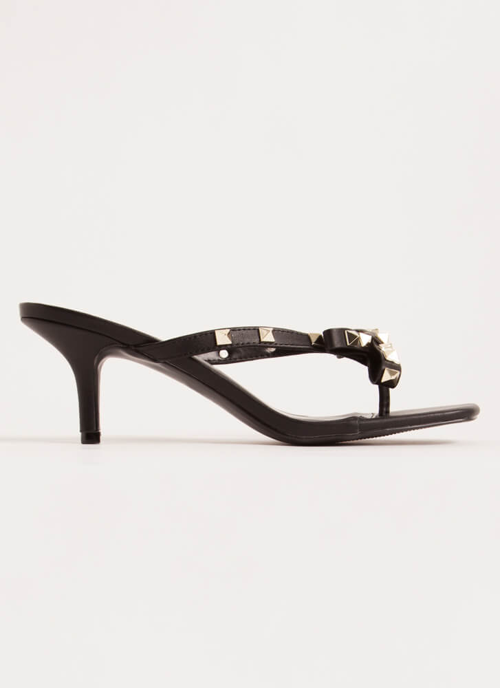 Bow Over The Edge Studded Thong Heels BLACK