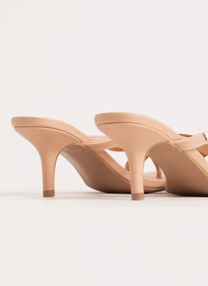 Bow Over The Edge Studded Thong Heels NUDE