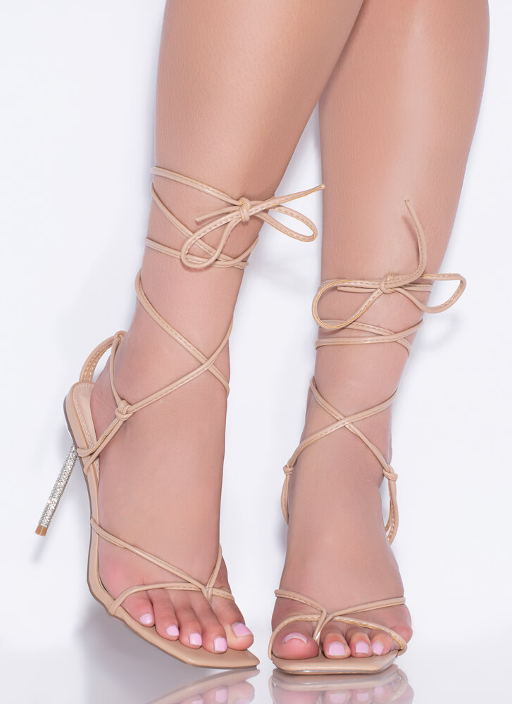 Glam Girl Jeweled Stiletto Lace-Up Heels NUDE