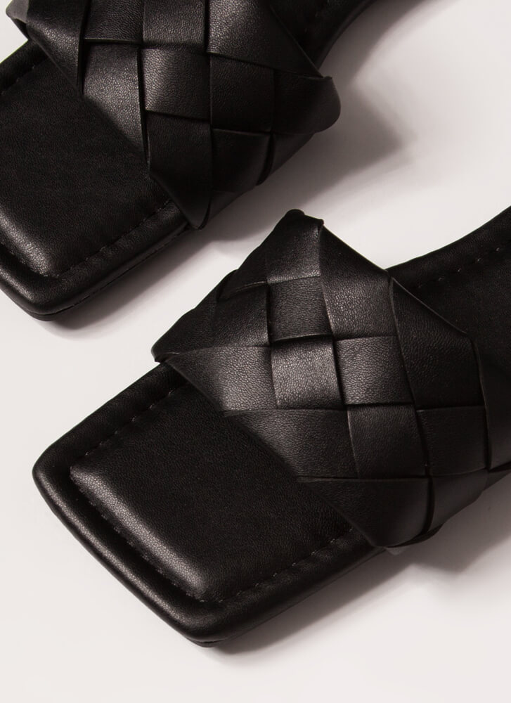 Squared Woven Faux Leather Slide Sandals BLACK