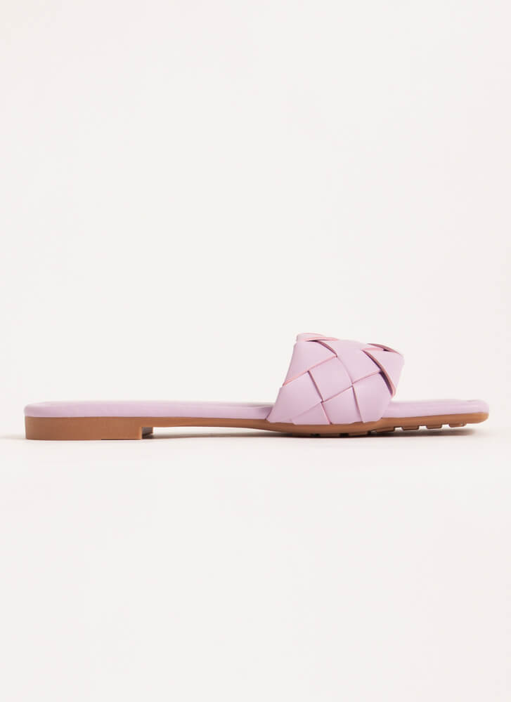 Squared Woven Faux Leather Slide Sandals LILAC