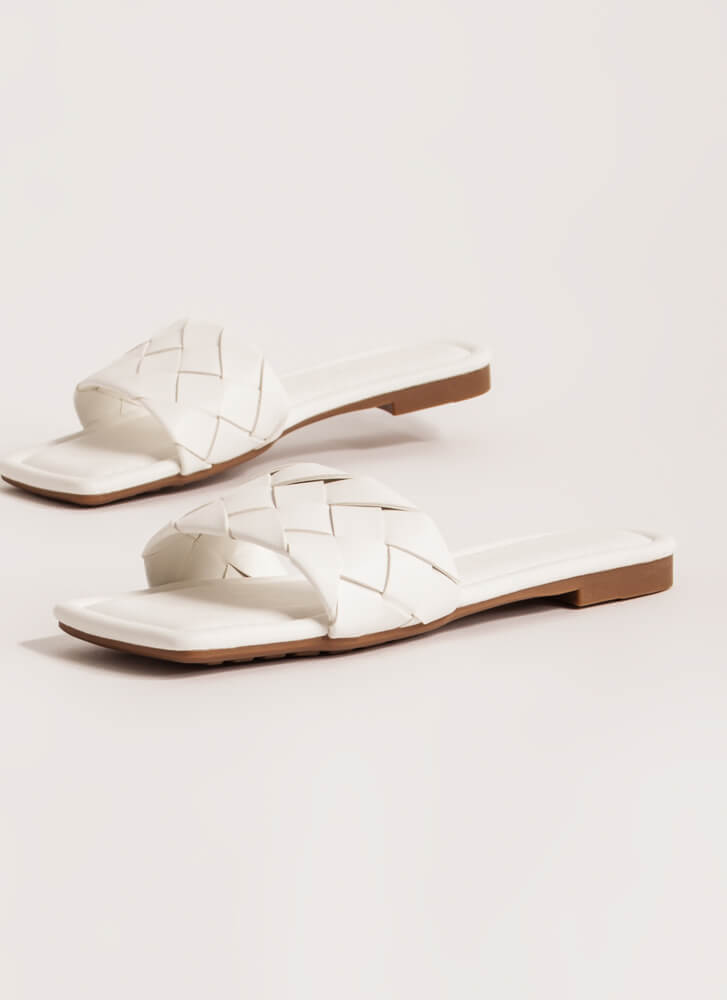 Squared Woven Faux Leather Slide Sandals WHITE