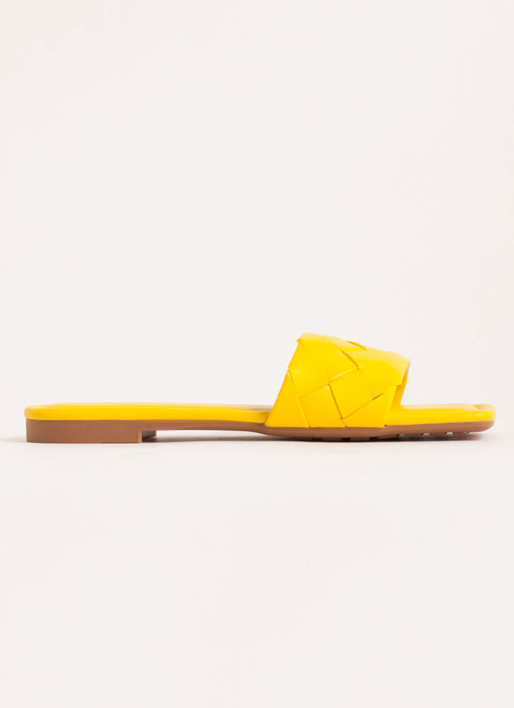 Squared Woven Faux Leather Slide Sandals YELLOW