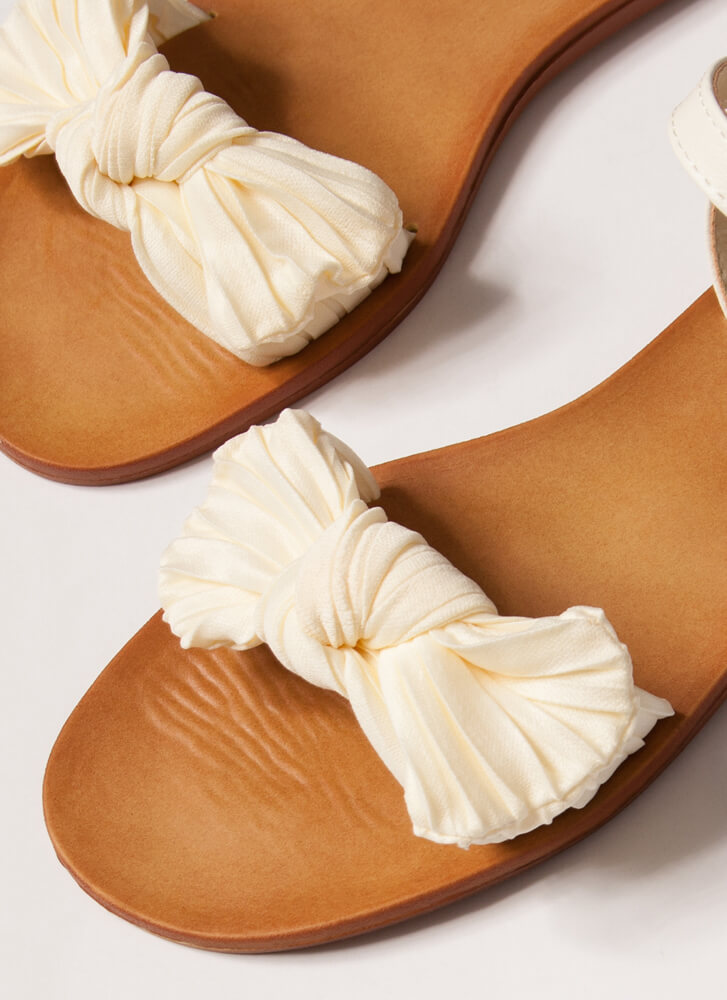 Bow You Knotted Pleated Sandals IVORY